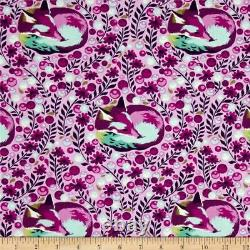 New TULA PINK Fabric Chipper Fox Nap Raspberry, Out-of-Print, 1 Full Yard