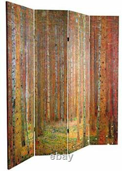 Oriental Furniture 6 ft. Tall Double Sided Works of Klimt Room Divider Tann