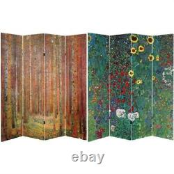 Oriental furniture 6 ft tall double sided works of klimt room divider tannenw
