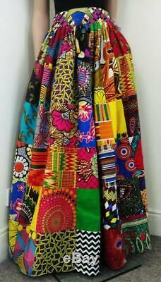 Patchwork African Printed Fabric Maxi/Full length Skirt 100% Wax Cotton Handmade
