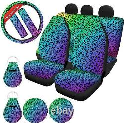 Qizhaolan Colorful Leopard Print Car Accessories Cars Seat Covers Full Set For W