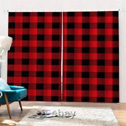 Red plaid full of nice blessings Printing 3D Blockout Curtains Fabric Window