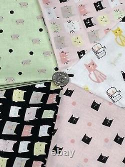 Riley Blake Meow and Forever Cotton Quilt Sewing Fabric Bundle Cat Lover Prints