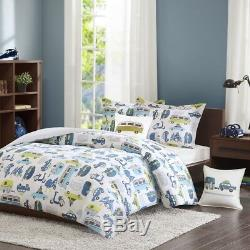 Road Trip Kids Full/Queen 4pc Comforter Set in Blue, Green and White Car Prints
