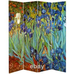 Room Divider 64 in. W x 71 in. H 4-Panel Double-Hinged Folding Canvas/Wood