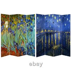 Room Divider 71 in. X 64 in. 4-Panel Fade Resistant Folding Canvas Multi-Colored