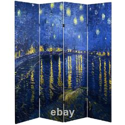 Room Divider 71 in. X 64 in. 4-Panel Folding Fade Resistant Canvas Multi-Colored