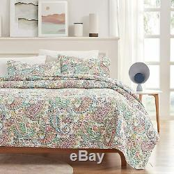 SLEEP ZONE Printed Quilt Set 3-Piece Classic Pattern 120gsm Fabric Stich Bedding