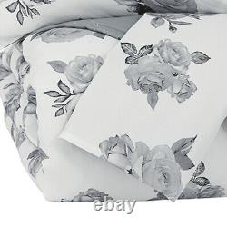 Saltoro Sherpi 3 Piece Fabric Full Comforter Set With Floral Print, Gray And