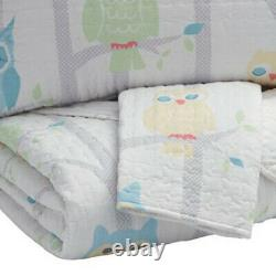 Saltoro Sherpi 3 Piece Fabric Full Coverlet Set With Little Owls Print