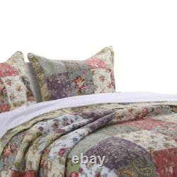 Saltoro Sherpi Chicago 3 Piece Fabric Full Bedspread Set With Jacobean Prints