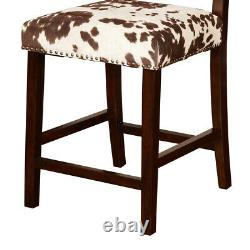 Saltoro Sherpi Wooden Counter Stool With Cow Print Upholstery, Brown And White