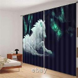 Silver-white horse full of aura Printing 3D Blockout Curtains Fabric Window