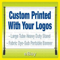 Step Repeat Backdrop CUSTOM Banner Stand 8x8 Ft + Full Color FABRIC Printing