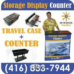 Trade Show Travel Wheeled Case Promo Counter Kiosk + Full Printed Fabric Graphic
