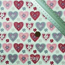 Valentines Hearts Cotton Fabric 45 Love Ditsy Floral Print Facemask Use D#145