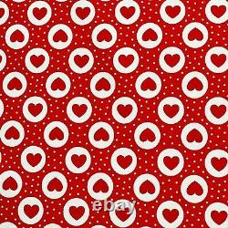 Valentines Red Hearts Cotton Fabric 45 Love Hearts Print Facemask D#119