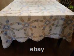 Vintage 40s Full Size Double Wedding Ring With Quilt Fabric Prints 75x82in