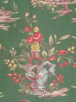 Vintage CHINOISERIE Full PANEL Chinese Print A Fabric Textile Asian