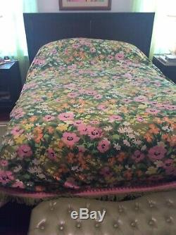 Vintage Hippie Boho Floral Print Bedspread Bed Cover 110 X 88 Full Size