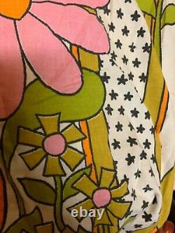 Vintage Mohawk MOD FLOWERS FITTED FULL SHEETCraftFabricPrint60s/70s Double