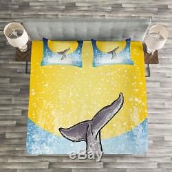 Whale Quilted Bedspread & Pillow Shams Set, Fish Tail Ocean Full Moon Print