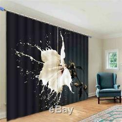 White Flowers Full Bloom 3D Blockout Photo Print Curtain Fabric Curtains Window
