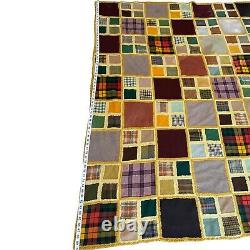 Wool Fabric Patchwork Squares Hand Crochet Multi Print Color Fusion FULL Quilt