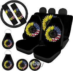 ZFRXIGN American Flag Sunflower Print Car Seat Seat Cover Accessories Full Set f